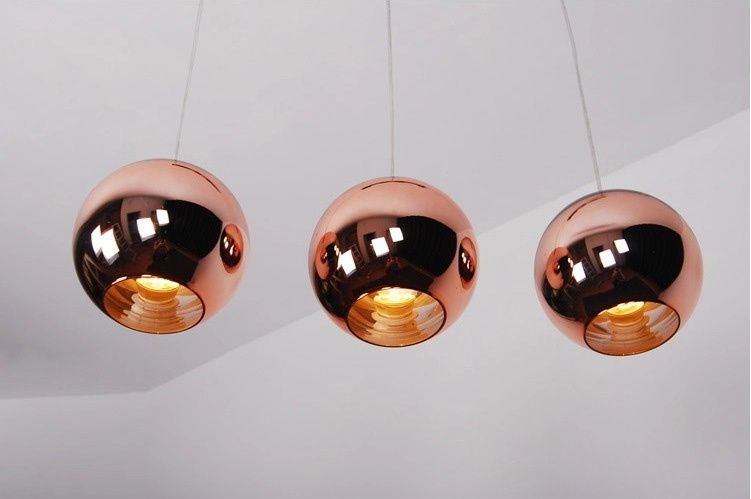Rose gold glass pendant light