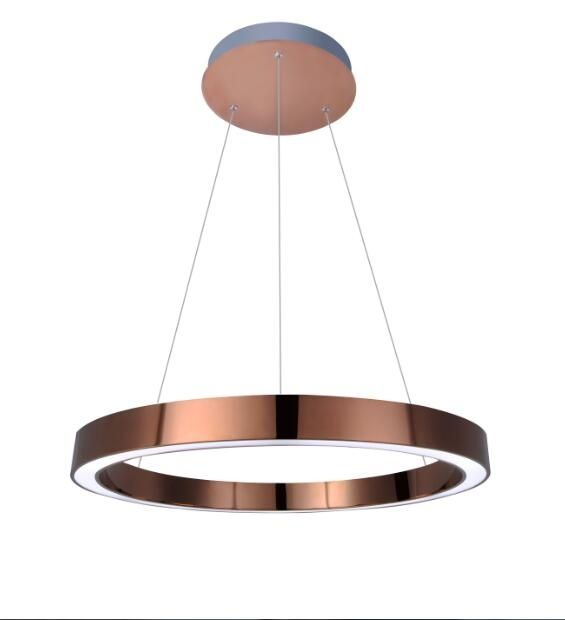 Rose gold LED ring pendant light