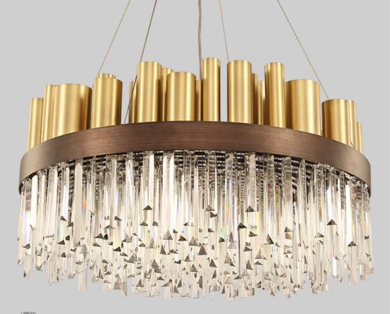 Rectangle crystal pendant light