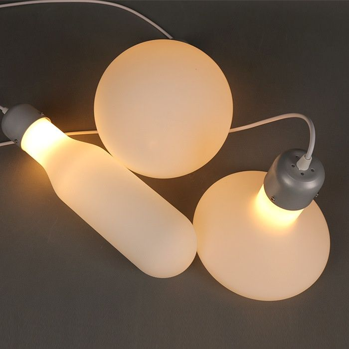 White glass hanging light