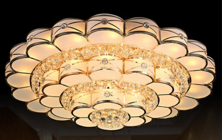 Large gold crystal ceiling lamp