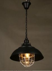 Black iron pendant light