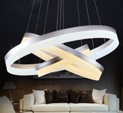 Silver 3 rings LED pendant light