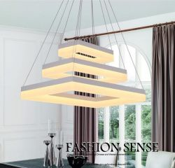 Rectangle 3 rings LED pendant light