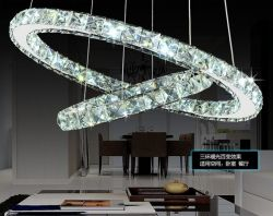 LED 2 rings crystal pendant lamp