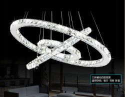 LED 3 rings crystal pendant lighting