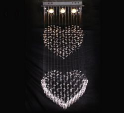 Heart shape crystal ceiling lighting