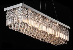 Rectangle crystal hanging light