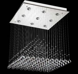 Square K9 crystal mounted ceiling lamp
