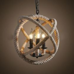Hemp rope hanging light