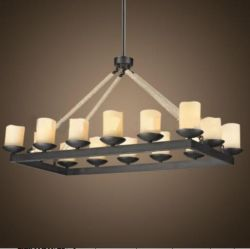 Rectangle wroght iron hanging light