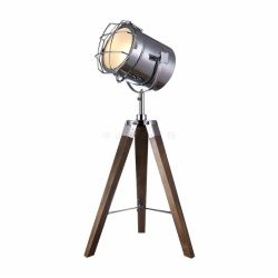 Tripod leg wood table lamp